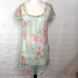 FOR LOVE and LIBERTY Sheer Floral Tunic